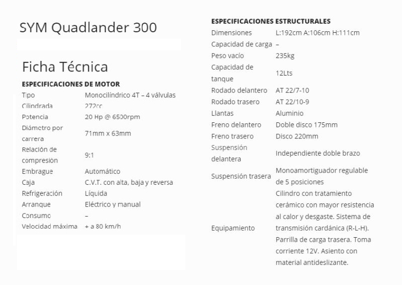 Moto Sym Cuatri QuadLander 300cc - Linea 2014