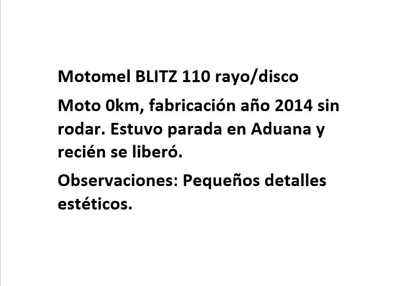 Moto Motomel Blitz 110 V8 Rayo/Disco linea 2014