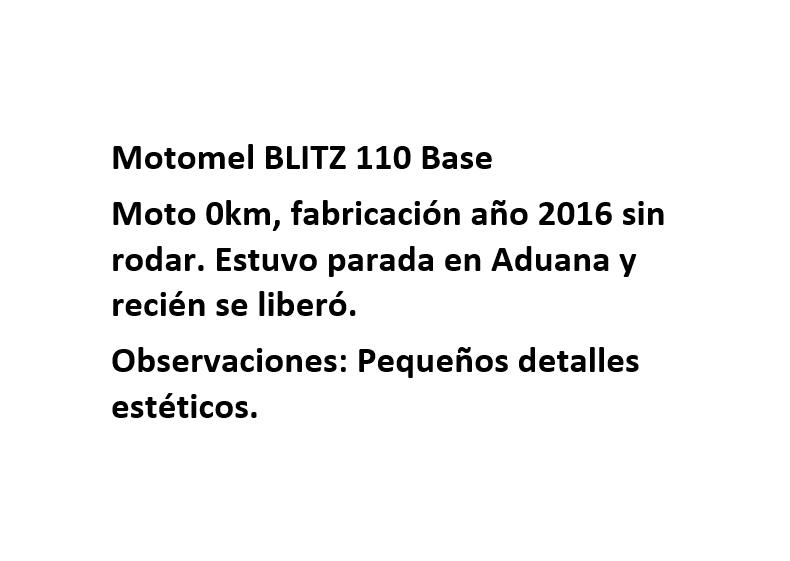 Moto Motomel Blitz 110 Base V8 - linea 2016