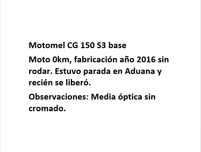 Moto Motomel CG 150 S3 Base linea 2016