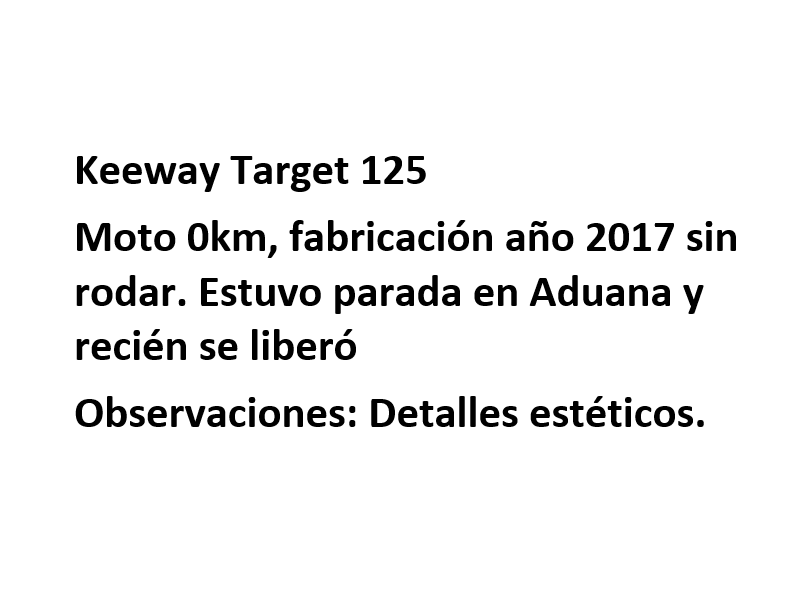 Moto Keeway Target 125 promo fab 2016